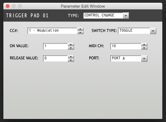 padKONTROL Parameter Window Pad